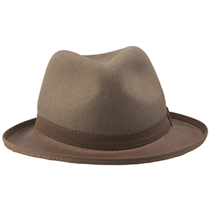 """Once known as the """"rich man's favored hat"""" the Trilby is a low profile classic that brings an air of sophistication to any wardrobe or setting. Now offered in four colors – from timeless Black to eye-catching Blood-Orange, the Trilby will take your look to another level. Choose the subtle brown of Saddle or the comforting, familiar shade of Pewter to project an air of Cary Grant unruffled cool. With a 4 ¼ inch crown and a leather 1 ½"""" brim this hat brings an element of style beyond the sum of its parts."""