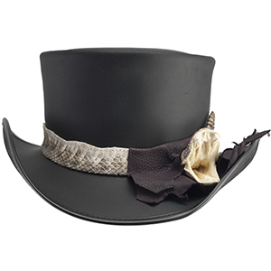 Not everyone is brave enough hunt rattlers and not everyone is brave enough to wear the RATTLESNAKE. Leave no doubt to your level of fearlessness and daring with this striking topper. The Pale Rider is handmade of the darkest black leather and made startlingly remarkable with its rattlesnake band. Don't be surprised if the less courageous step back in fear, for this hat is not for the faint of heart.
